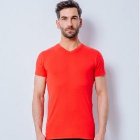T-Shirt manches courtes col V standard rouge