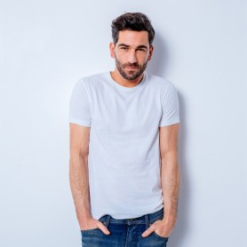 T-shirt manches courtes mixte col rond premium blanc